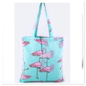 🔴New Pink Flamingo tote bag summer blue